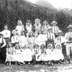 Barford School 1912 May Day dress & Sam Bennett fiddler from Ilmington