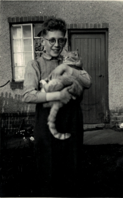 Ian Webster and Jimmy the cat, standing outside his home, 10 Red Lion Lane (Now Mill Lane) | Ian webster