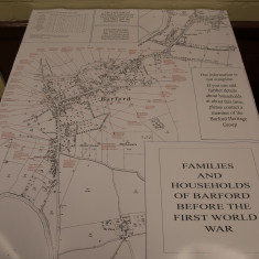 Map of Barford at the time of WW1 showing the names of the families and where they lived,. | Doug Warne