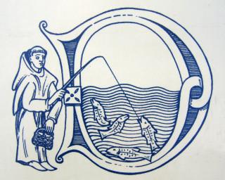 Medieval Friar fishing