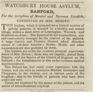 Advertisement for Watchbury House Asylum 1846