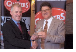 Pete Webb receives Ginster's award